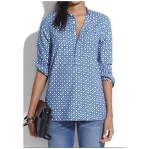 Madewell • chambray floralstamp Popover blouse